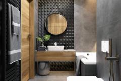 black-tiled-wall-round-mirror-grey-tiled-walls-floor-wooden-cabinets-bathroom-ideas-for-small-bathrooms
